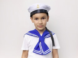 Фото Бескозырка моряка с воротником детская