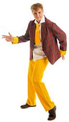 Фото Костюм стиляги с желтыми полосками бордовый взрослый