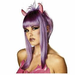 Фото Парик Дьяволица с рожками фиолетовый женский