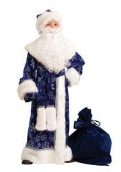 Фото Костюм Дед Мороз велюр темно-синий детский