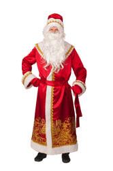 Фото Костюм Дед Мороз сатин красный пейзаж золото взрослый