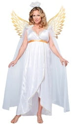 Фото Костюм Ангел с золотистыми крыльями (большой размер) взрослый