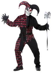 Фото Костюм Дьявольский шут черно-красный с черепками взрослый
