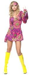 Фото Костюм хиппи в мини-платье взрослый