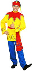 Фото Костюм Петрушка в желтой рубахе взрослый