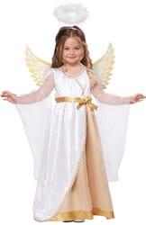 Фото Костюм Ангелочек с золотистыми крыльями детский