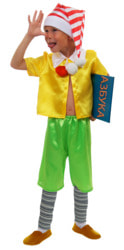 Фото Костюм Буратино (Золотой ключик) в зеленых шортах детский