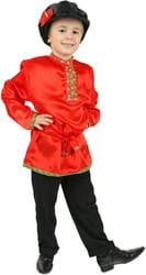 Фото Косоворотка детская (красная) атлас