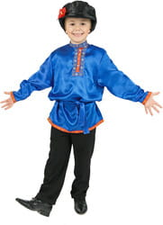Фото Косоворотка детская (синяя) атлас
