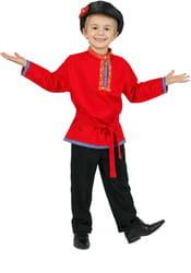 Фото Косоворотка детская лен (красная) детская