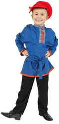 Фото Косоворотка лён (синяя) детская