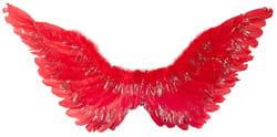 Фото Крылья ангела красные с блестками 45 см ? 85 см