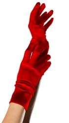 Фото Перчатки атласные красные до запястья взрослые