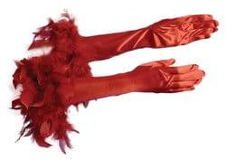 Фото Перчатки с перьями красные взрослые