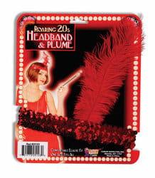 Фото Головной убор с пером в стиле 20-х годов красный (с пайетками)
