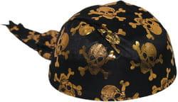 Фото Бандана пиратская с золотистыми черепами