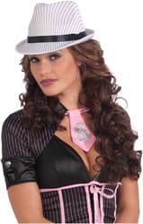 Шляпа гангстерская белая в полоску взрослая