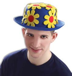 Фото Шляпа клоунская с цветами синяя
