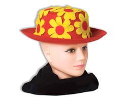 Фото Шляпа клоунская с цветами красная взрослая