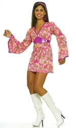 Фото Костюм Платье в стиле 60-х (розовое) Хиппи взрослый