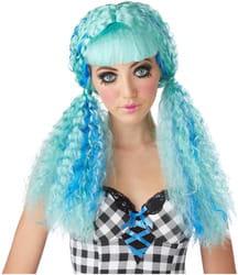 Фото Парик кукла с гофрированными хвостами (голубая) взрослый