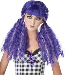 Фото Парик кукла с гофрированными хвостами (фиолетовая) взрослый