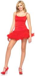 Фото Нижнее красное платье с пышным подолом взрослое