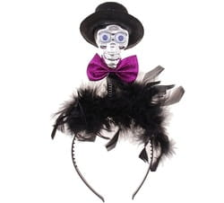 Фото Ободок Череп в шляпе с бабочкой
