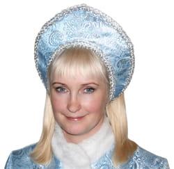 Фото Кокошник Снегурочки голубой с узором