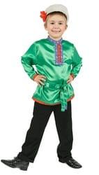 Фото Косоворотка зеленая детская