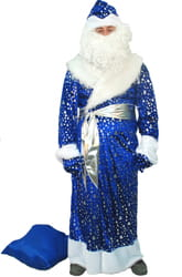 Фото Костюм Деда Мороза взрослый синий в елочку