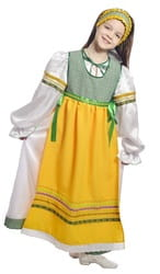Фото Костюм народный с фартуком зеленый детский