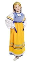 Фото Костюм народный с фартуком синий детский