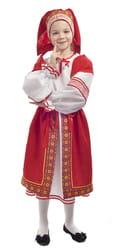 Фото Костюм народный с красной поневой детский