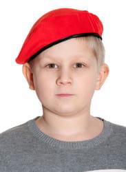 Берет военный красный детский