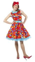 Фото Платье в стиле 50-х с листочками красное взрослое