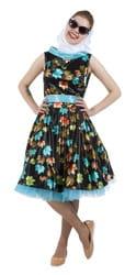 Фото Платье в стиле 50-х с листочками черное взрослое