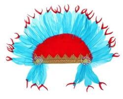 Фото Головной убор индейский красно-синий