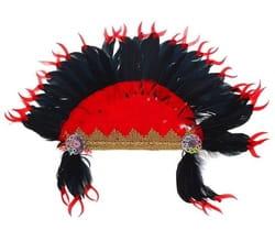 Фото Головной убор индейский красно-черный