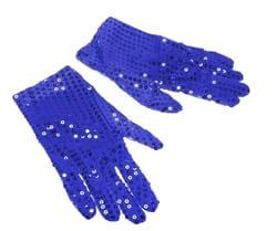 Фото Перчатки блестящие синие взрослые