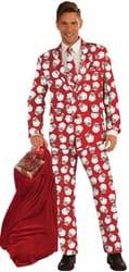 Фото Костюм Модный Санта в красном взрослый