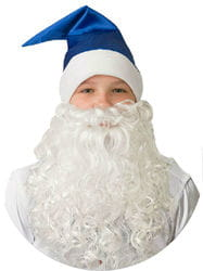 Фото Новогодний колпак с бородой (синий)
