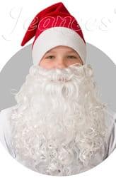 Фото Новогодний колпак с бородой (красный)