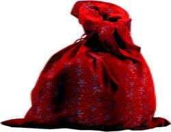 Фото Мешок Деда Мороза со снежинками (красный)