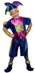 Фото Карнавальный костюм детский Королевский Шут синий