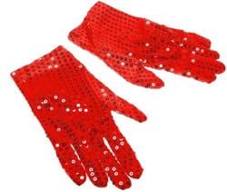 Фото Красные перчатки с пайетками