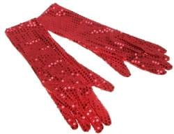 Фото Длинные красные перчатки с пайетками